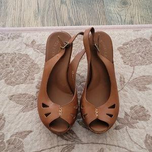 Kork-Ease peep toe slingback wedge heels